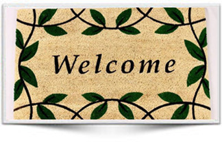 WELCOME LEAF RUBBER BACKED MAT